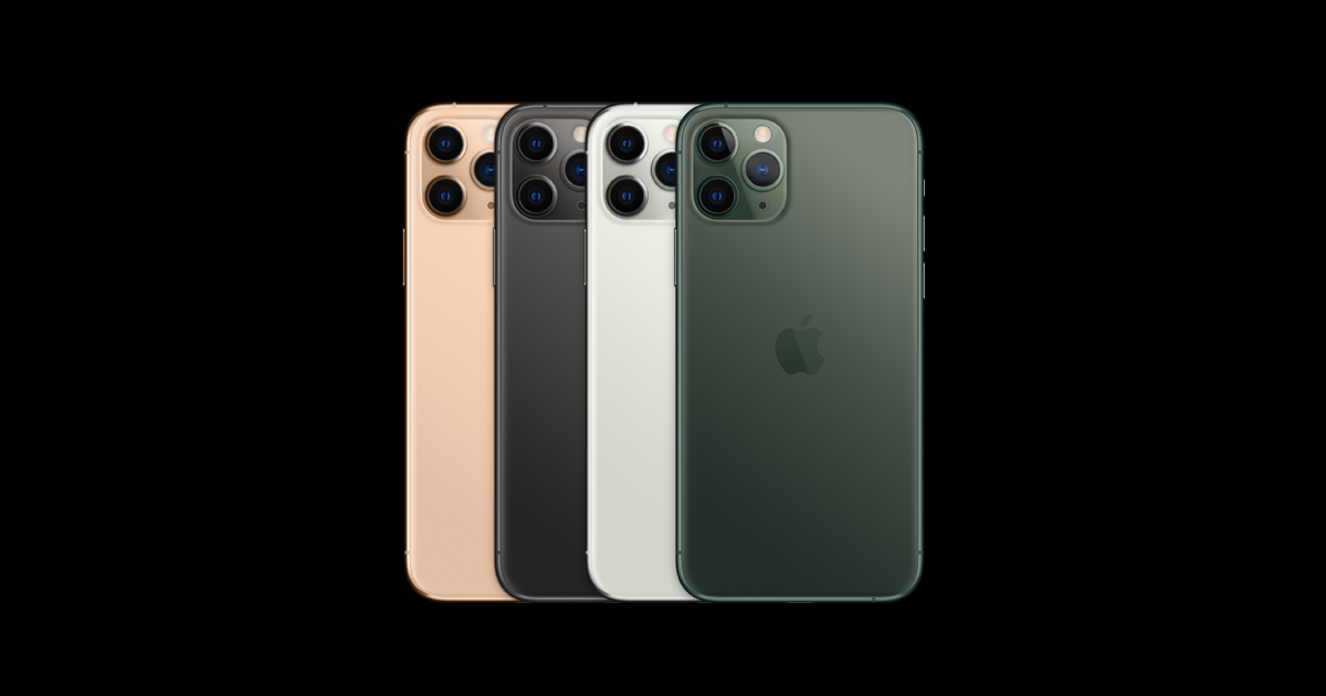 Featuring the iPhone 11 Pro in Gold, Space Gray, Silver and Midnight Green.