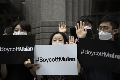 People protest Mulan in Korea.
